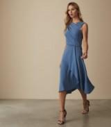 REISS MARLING WRAP FRONT MIDI DRESS MID BLUE ~ asymmetric partywear