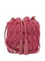 MIU MIU Matelassé-quilted pink velvet bucket bag ~ luxe bags