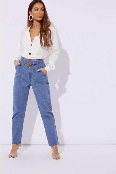 IN THE STYLE MAVRIC BLUE DENIM HORN BUCKLE DETAIL MOM JEANS ~ casual style