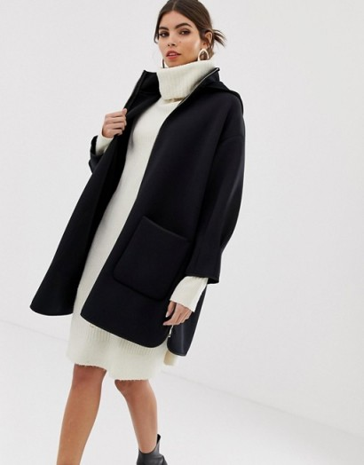 Max & Co neoprene hooded coat in midnight blue – chic coats