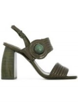 MERCEDES CASTILLO Marne green patent-leather sandals ~ thick strap & chunky heel shoes