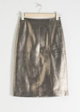 & other stories Metallic Leather Pencil Skirt – gold / luxury fashion