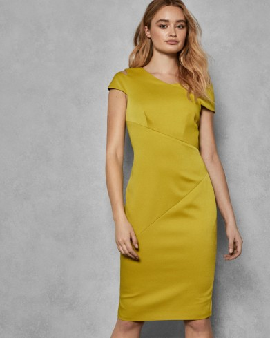 Ted Baker ASPYN Midi bodycon dress in mid yellow – asymmetric neckline party dresses