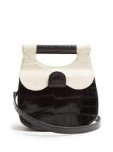 STAUD Mini Madeline ivory and black leather cross-body bag ~ small retro monochrome bags