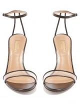 AQUAZZURA Minimalist 85 black leather PVC panel sandals