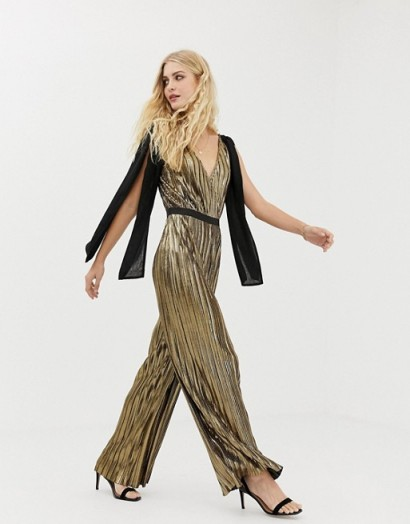 Moon River metallic wide leg jumpsuit with bow shoulders in bronze – party glamour
