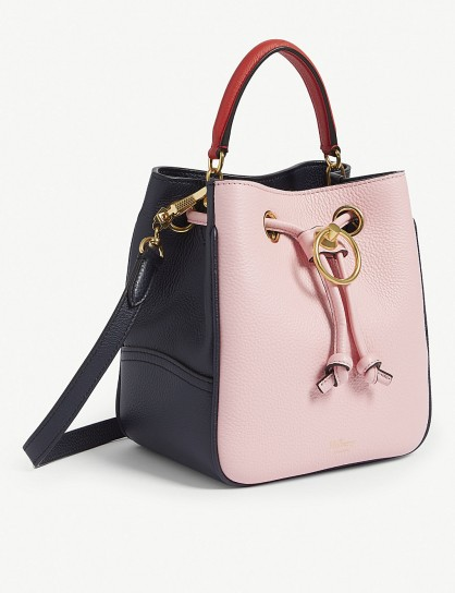 MULBERRY Hampstead small leather bucket bag in sorbet pink/blue ~ luxe colour block handbag