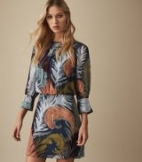 REISS NAMINA FEATHER PRINTED DRESS ~ feminine eveningwear