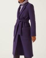 Jigsaw NARROW BELTED WOOL COAT – purple / self tie winter coats