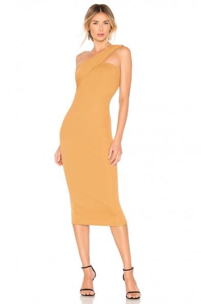 NBD Day One Midi Dress bronze – one shoulder dresses