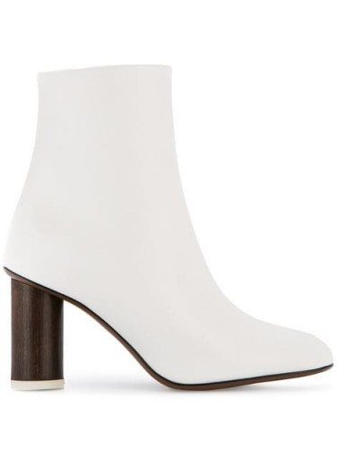 NEOUS White leather wood heel boots
