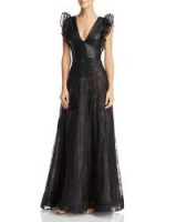 Nha Khanh Black Faux-Leather & Lace Gown ~ plunge front event wear