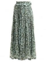 LEE MATHEWS Nina godet floral-print silk skirt