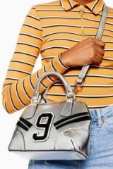 Topshop No9 Spot Bowler Bag in Silver | metallic crossbody