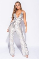 PARISIAN NUDE BAROQUE SEQUIN PLUNGE FRONT FLARE LEG JUMPSUIT ~ my going out style of fashion ~ glamorous looks