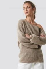 Camille Botten x NA-KD Off Shoulder Oversize Sweater in beige