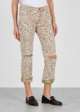 ONETEASPOON Trucker leopard-print cropped jeans ~ animal print denim