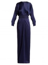 MAX MARA Pagode blue crystal-studded satin gown