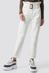 Camille Botten x NA-KD Paper Waist Baggy Jeans White