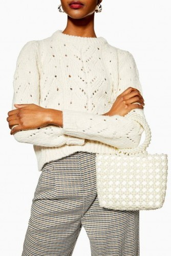 TOPSHOP Peggie Pearl Tote Bag in Cream / cute embellished bags - flipped