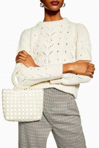 TOPSHOP Peggie Pearl Tote Bag in Cream / cute embellished bags