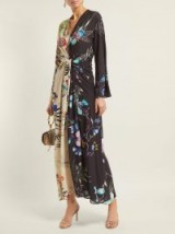 ETRO Peggy two-tone floral-print crepe dress ~ colour block dresses