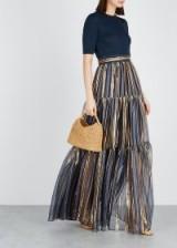 PETER PILOTTO Blue and gold striped silk-blend maxi skirt