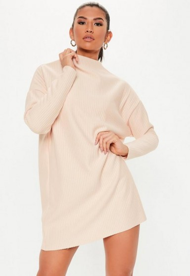 MISSGUIDED petite blush oversized ribbed sweater dress – luxe style knitwear