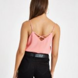 RIVER ISLAND Pink cross back cami top – strappy camisole