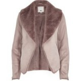 River Island Pink fallaway faux suede jacket | fur collar winter jackets