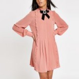 River Island Pink jewel brooch bow swing dress – high neck ruffled dresses
