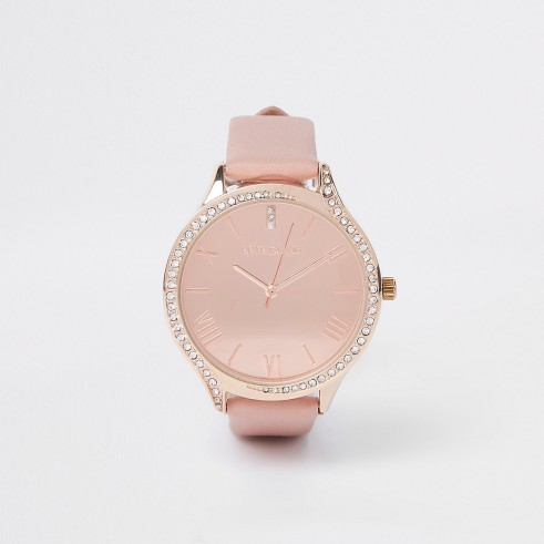 RIVER ISLAND Pink rose gold tone diamante round face watch – embellished watches