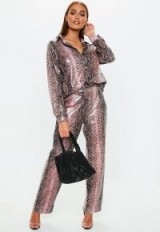 MISSGUIDED pink snake print vinyl wide leg trousers