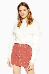 TOPSHOP Pink Spot Corduroy Skirt – spotty cord skirts