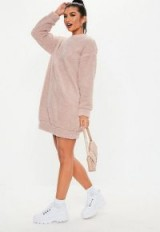 MISSGUIDED pink teddy crew neck sweatshirt dress – casual style