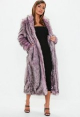 MISSGUIDED pink tipped maxi faux fur coat – luxe style winter coats