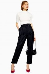 Topshop Pinstripe D-Ring Trousers in navy-blue