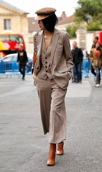 Checked brown tone outfit - flipped