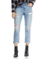 Pistola Mason Distressed High-Rise Girlfriend Jeans in Like That ~ light-blue ripped denim