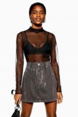 Topshop Plain Mesh Funnel Top in Black | sheer blouses