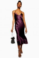 Topshop Plain Satin Slip Dress in Plum