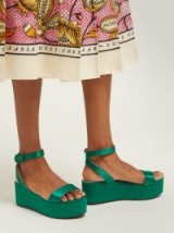 PRADA Platform green satin sandals ~ jewel tone platforms
