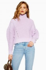 Topshop Pleated Funnel Jumper in lilac | balloon sleeve high neck sweater