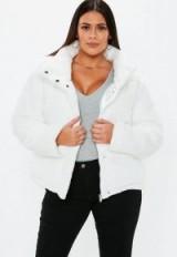 MISSGUIDED plus size cream faux fur puffer jacket – curvy winter coats