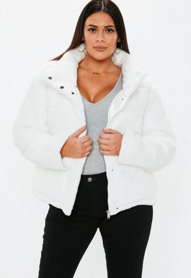 MISSGUIDED plus size cream faux fur puffer jacket – curvy winter coats