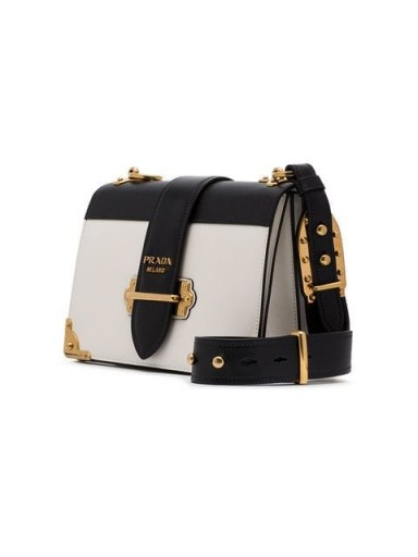 PRADA black and white Cahier leather shoulder bag | monochrome bags