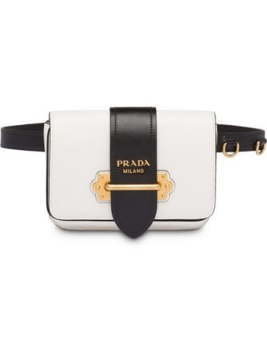 PRADA Cahier black and white leather belt bag ~ luxe accessory