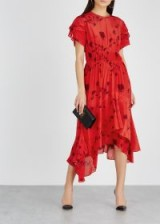PREEN LINE Esther red and bordeaux printed satin dress ~ ruffled event clothing