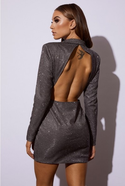 IN THE STYLE PREMIUM SILVER METALLIC TUXEDO DRESS WITH OPEN BACK – glam party dresses