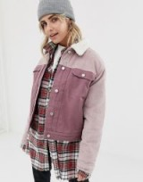 Pull&Bear cord burg collar jacket in Pink | colour block corduroy